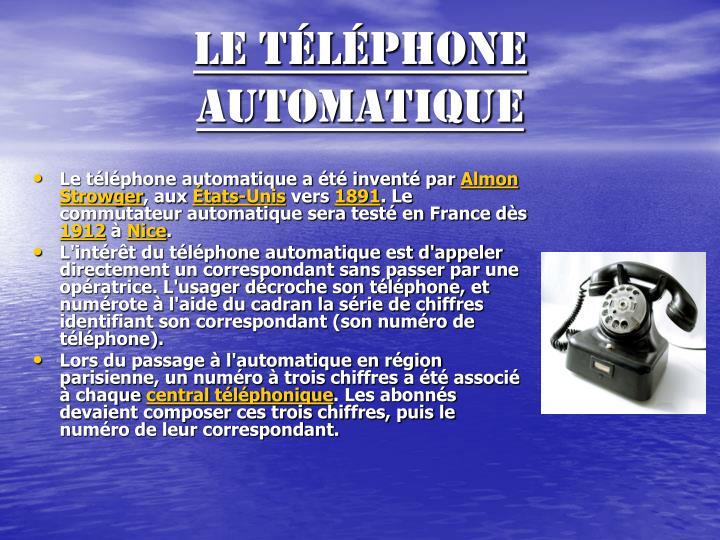 Le téléphone automatique