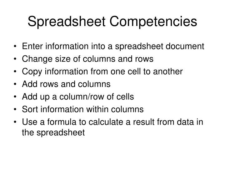 Spreadsheet Competencies