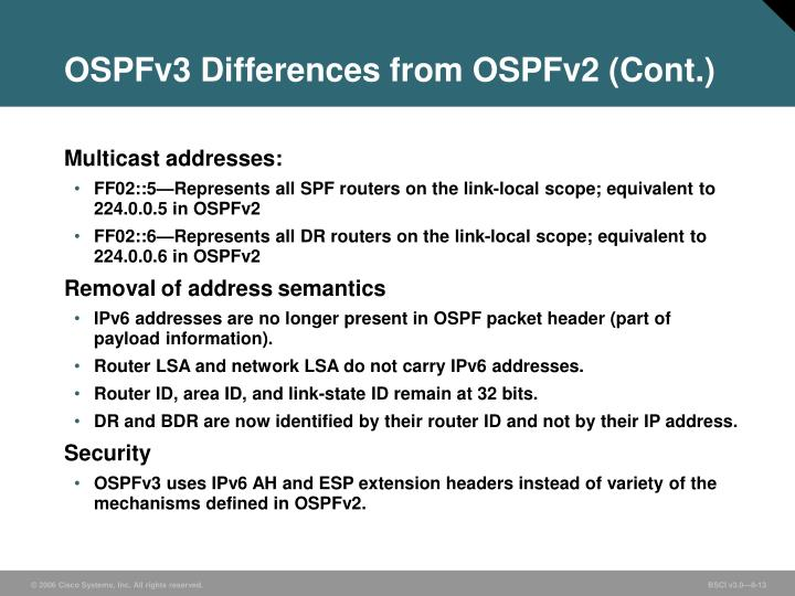 OSPFv3 Differences from OSPFv2 (Cont.)