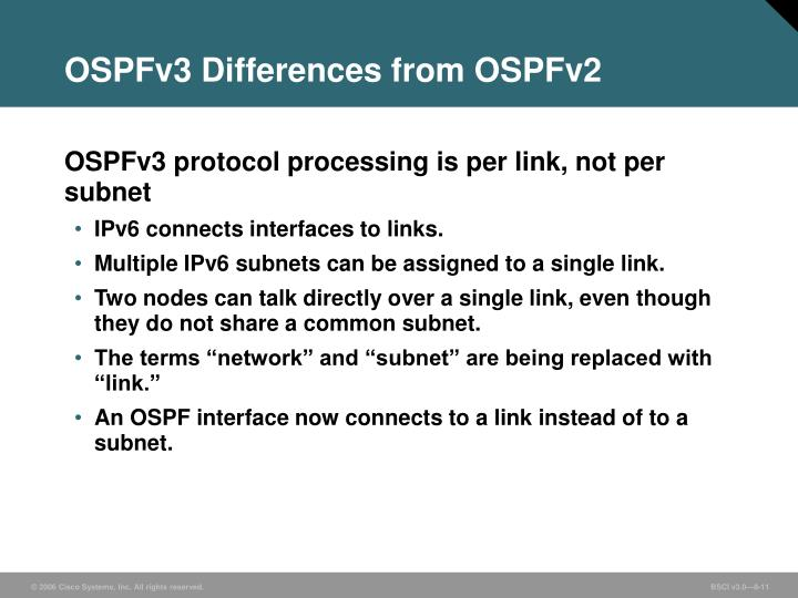 OSPFv3 Differences from OSPFv2