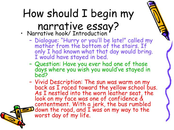 starting a narrative essay Learn how to write a narrative essay outline, using the most useful prompts follow the examples to get the best grades for your academic narrative essay.