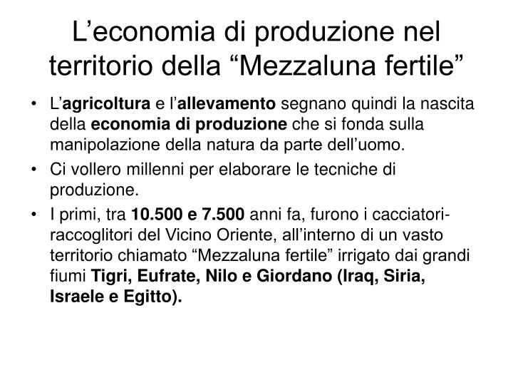"""L'economia di produzione nel territorio della """"Mezzaluna fertile"""""""
