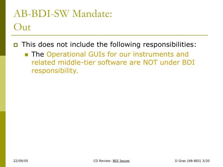 AB-BDI-SW Mandate: