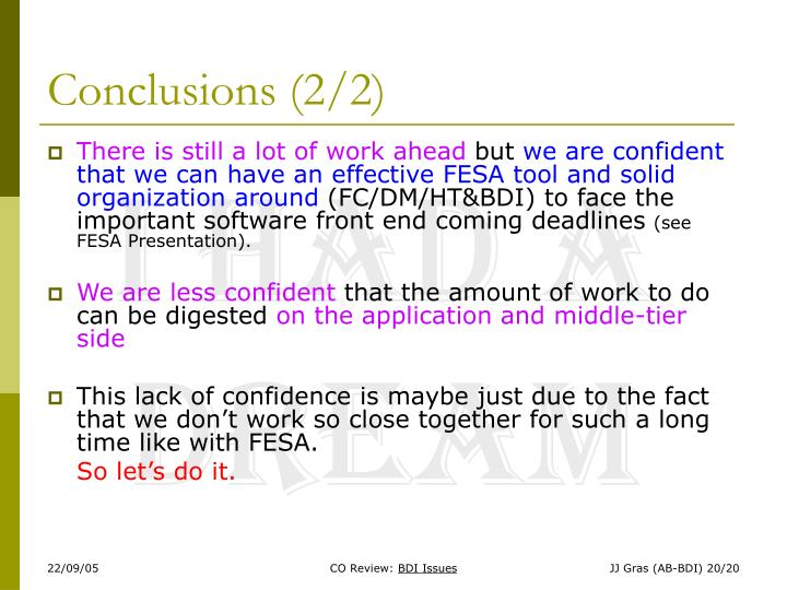 Conclusions (2/2)