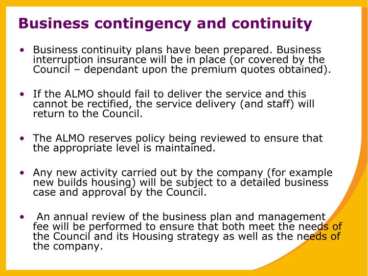 Business contingency and continuity