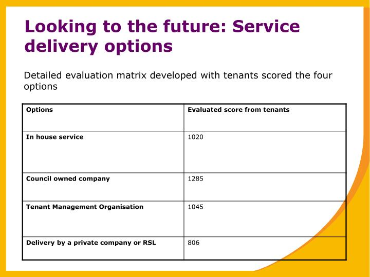 Looking to the future: Service delivery options