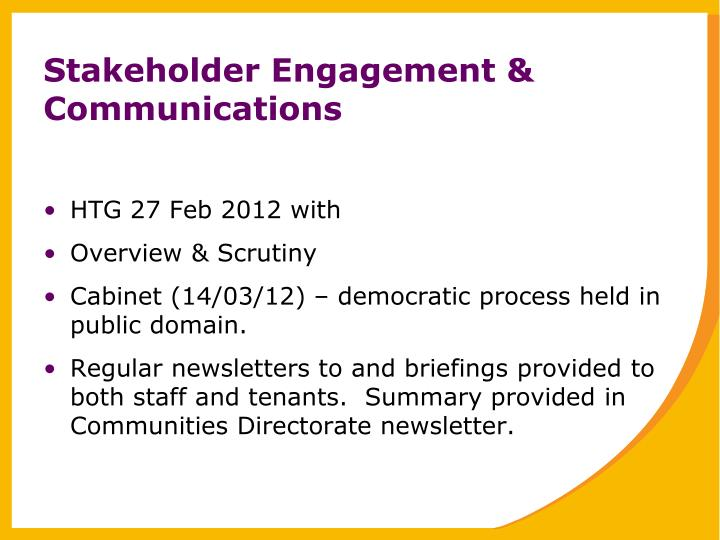 Stakeholder Engagement & Communications