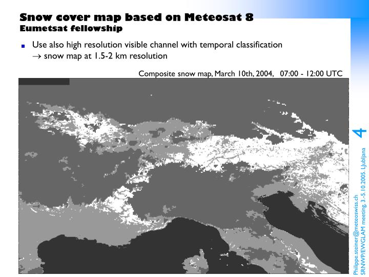 Snow cover map based on Meteosat 8