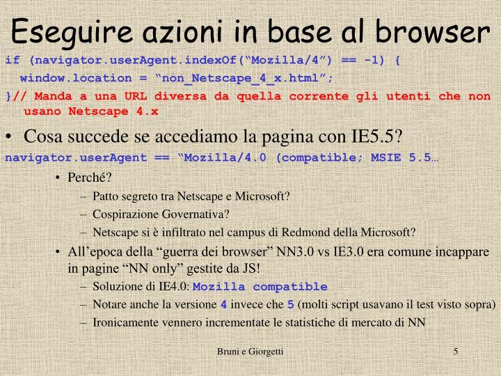Eseguire azioni in base al browser