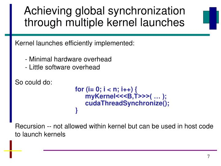 Achieving global synchronization through multiple kernel launches