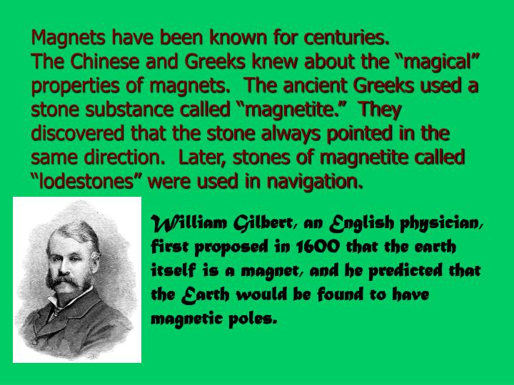 Magnets have been known for centuries.