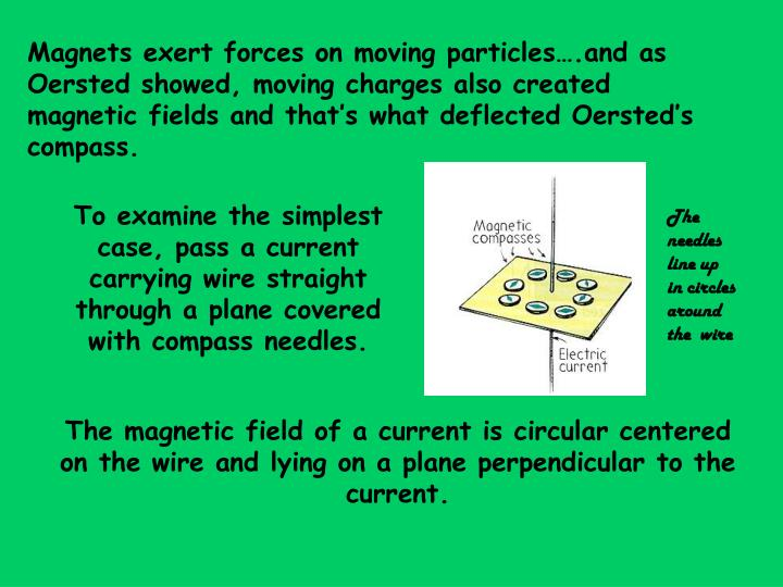 Magnets exert forces on moving particles….and as Oersted showed, moving charges also created magnetic fields and that's what deflected Oersted's compass.