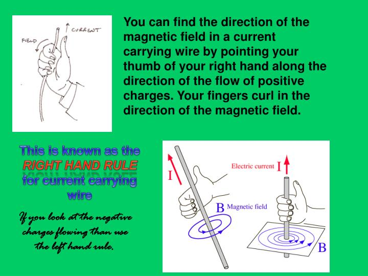 You can find the direction of the magnetic field in a current carrying wire by pointing your thumb of your right hand along the direction of the flow of positive charges. Your fingers curl in the direction of the magnetic field.