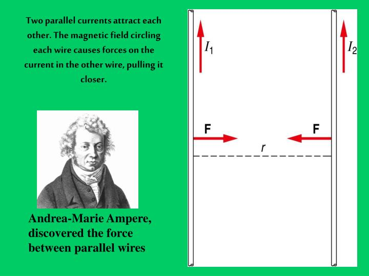 Two parallel currents attract each other. The magnetic field circling each wire causes forces on the current in the other wire, pulling it closer.
