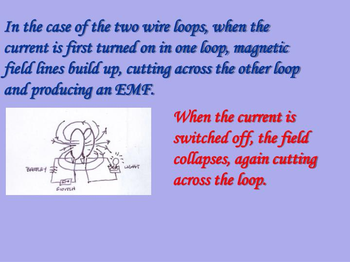 In the case of the two wire loops, when the current is first turned on in one loop, magnetic field lines build up, cutting across the other loop and producing an EMF.
