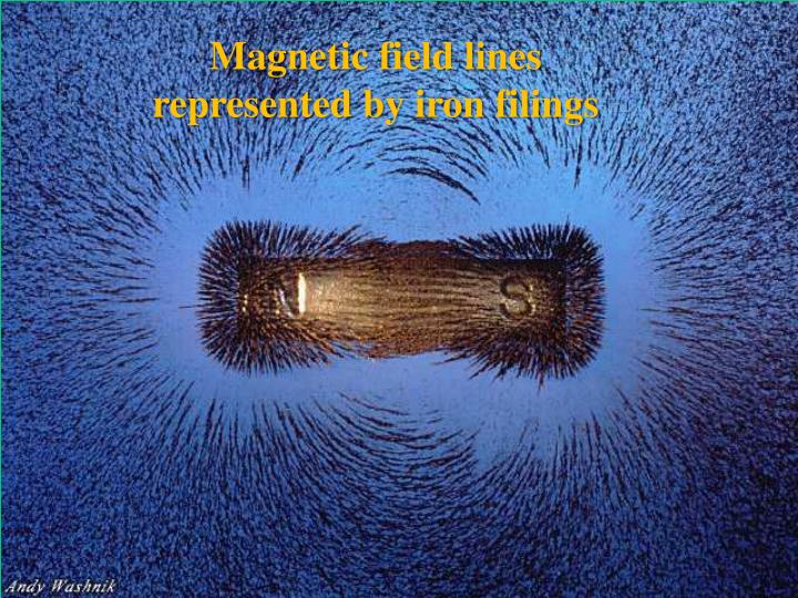 Magnetic field lines represented by iron filings