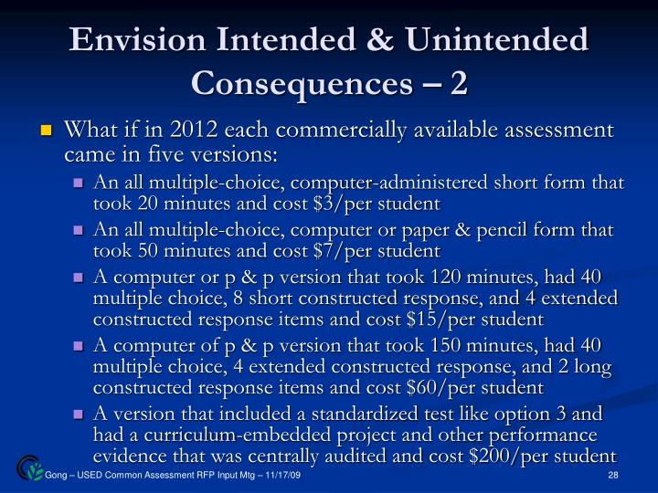 Envision Intended & Unintended Consequences – 2