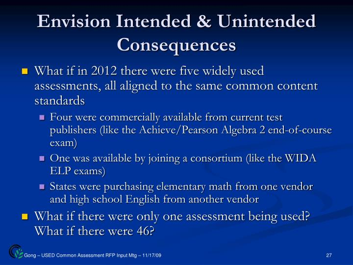 Envision Intended & Unintended Consequences