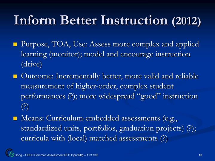 Inform Better Instruction