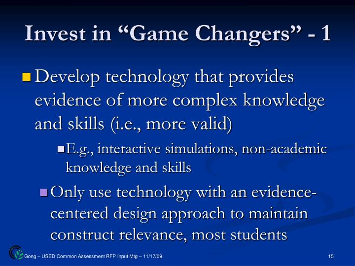 "Invest in ""Game Changers"" - 1"