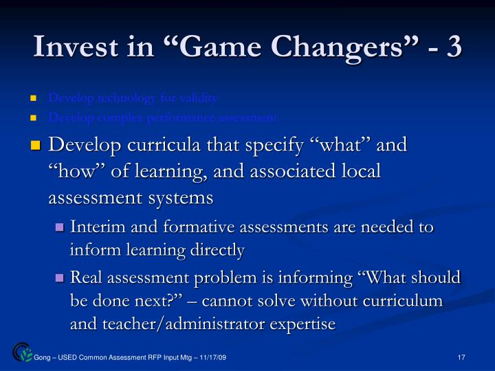 "Invest in ""Game Changers"" - 3"