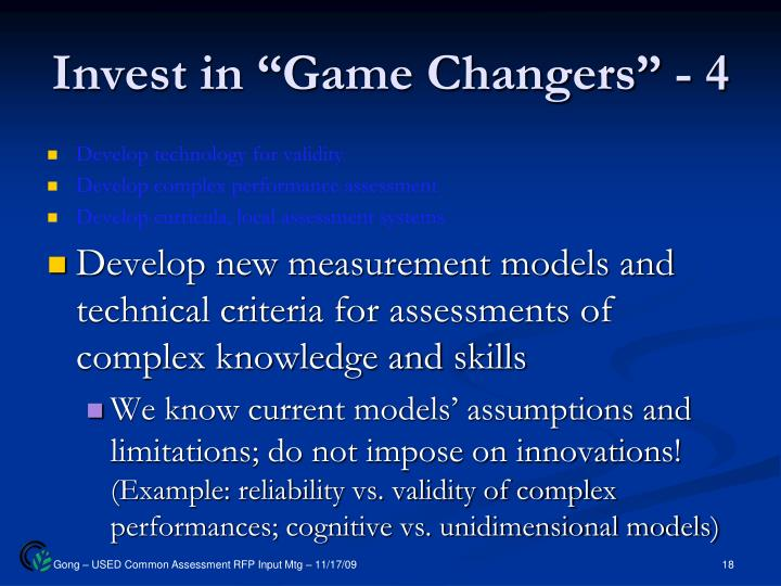 "Invest in ""Game Changers"" - 4"