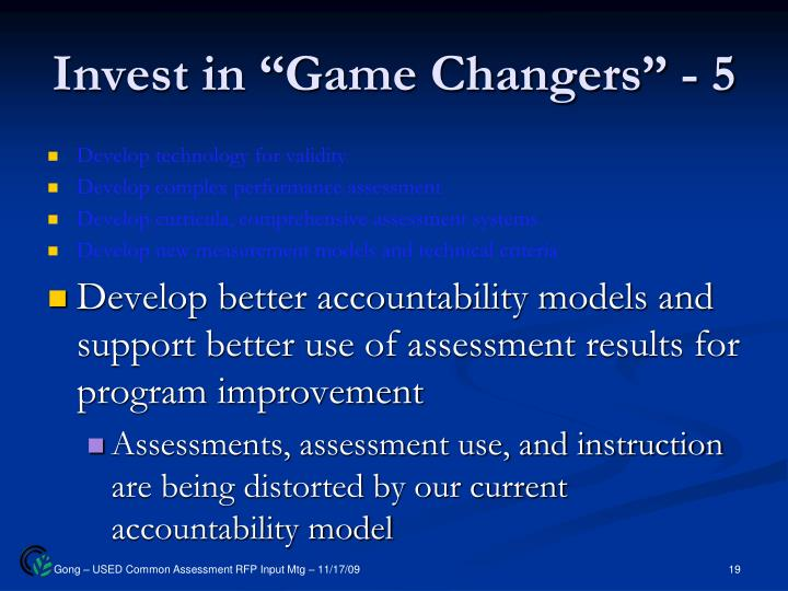 "Invest in ""Game Changers"" - 5"
