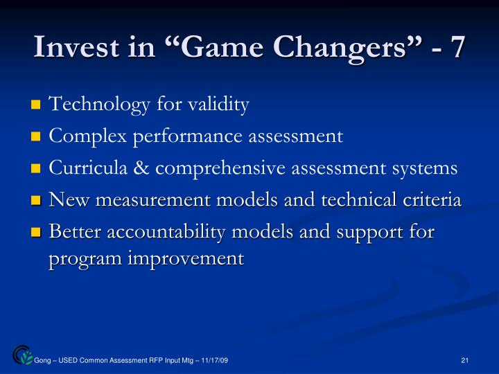 "Invest in ""Game Changers"" - 7"