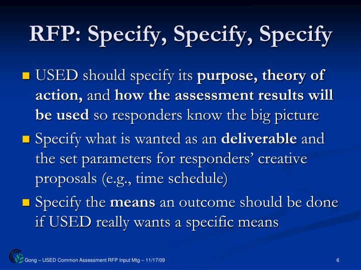 RFP: Specify, Specify, Specify