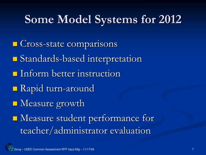 Some Model Systems for 2012