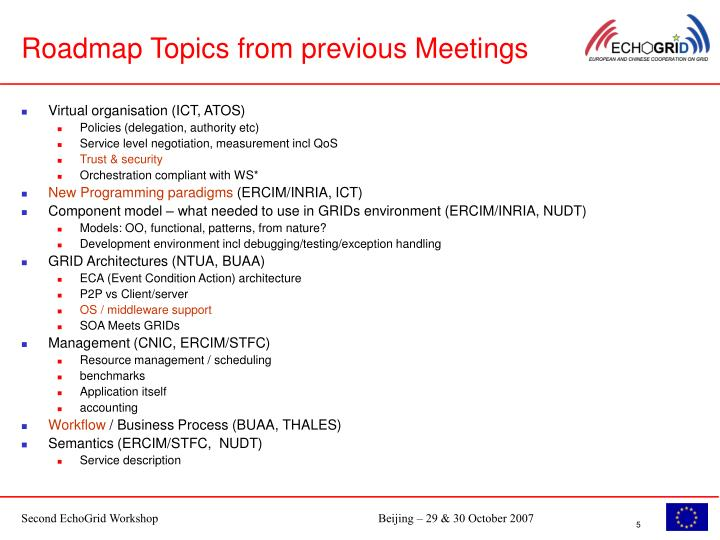 Roadmap Topics from previous Meetings