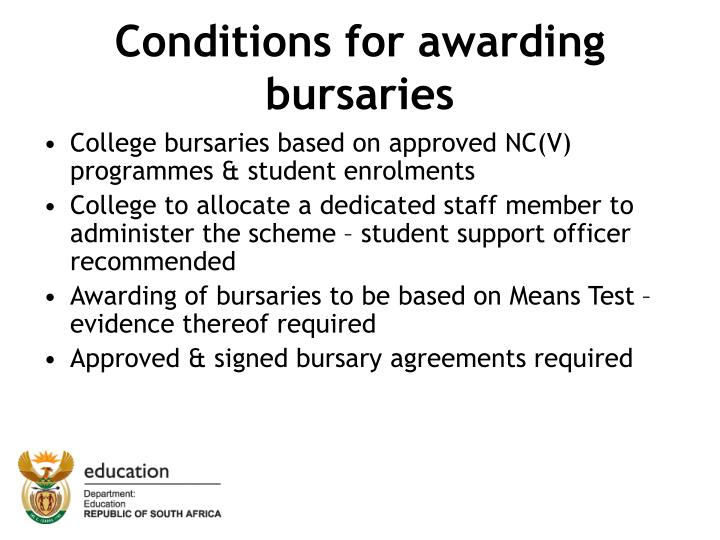 Conditions for awarding bursaries