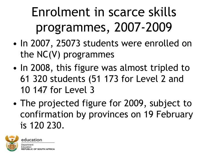 Enrolment in scarce skills programmes, 2007-2009
