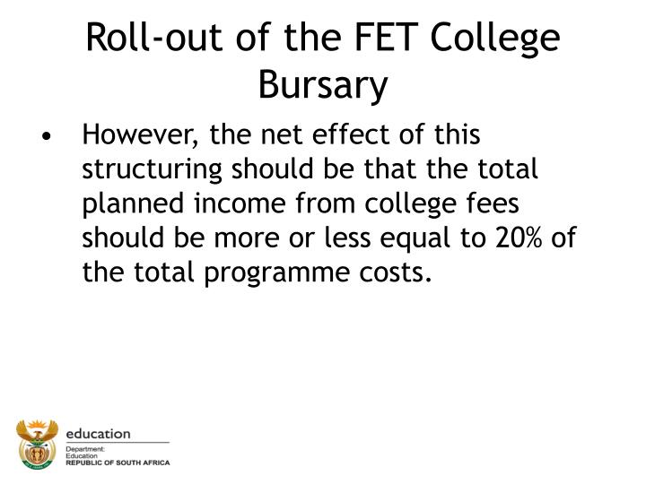 Roll-out of the FET College Bursary