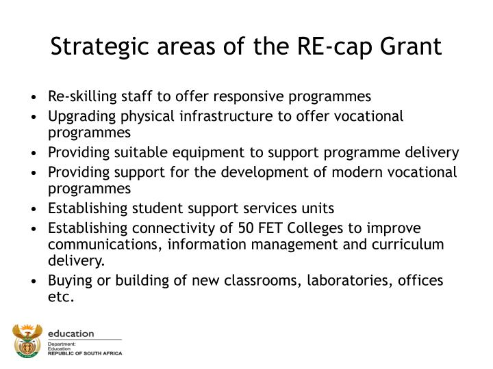 Strategic areas of the RE-cap Grant