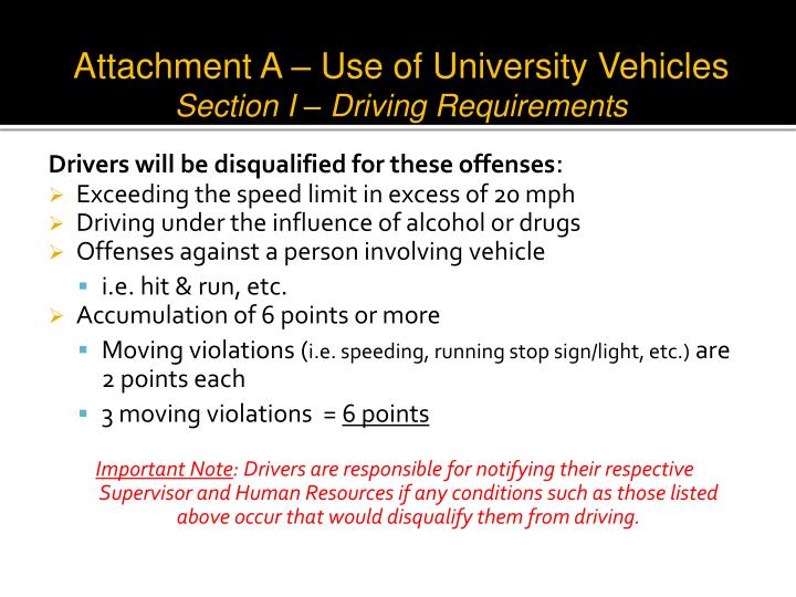 Attachment A – Use of University Vehicles
