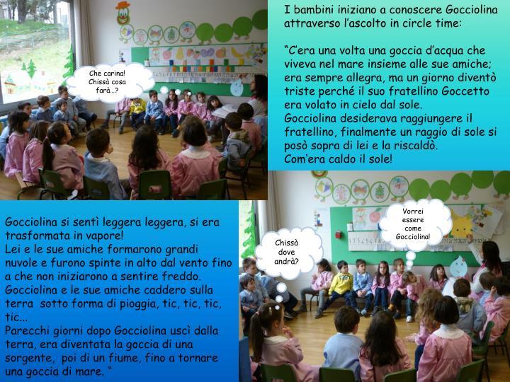 I bambini iniziano a conoscere Gocciolina attraverso l'ascolto in circle time: