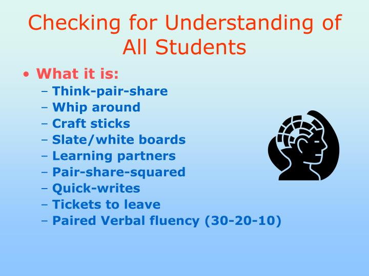 Checking for Understanding of All Students