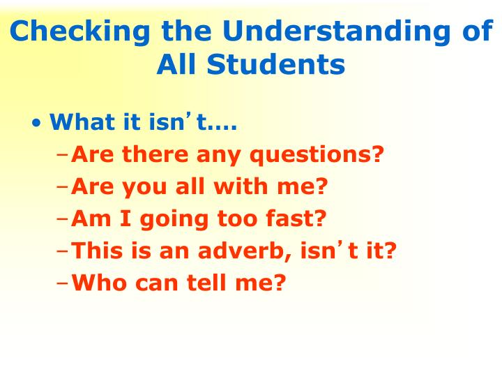 Checking the Understanding of All Students