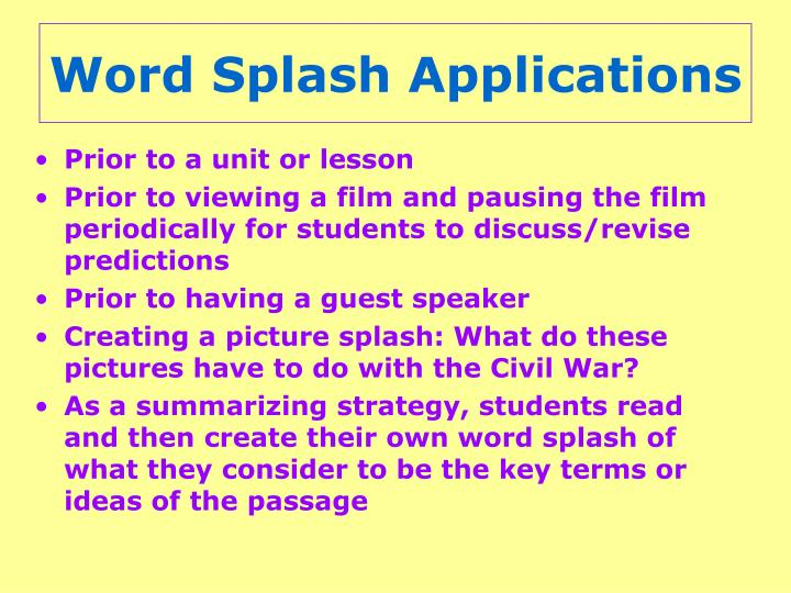 Word Splash Applications