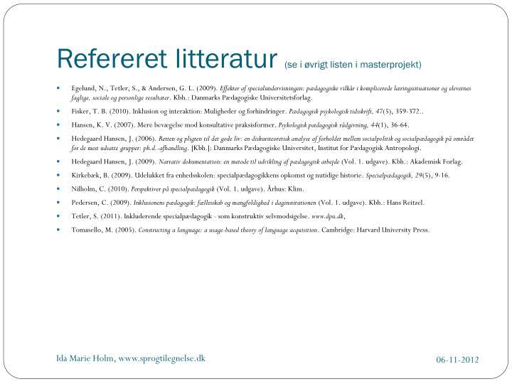 Refereret litteratur