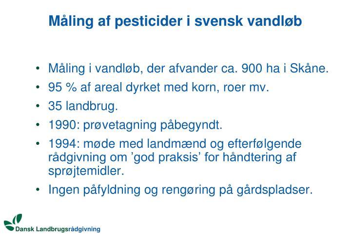 Måling af pesticider i svensk vandløb