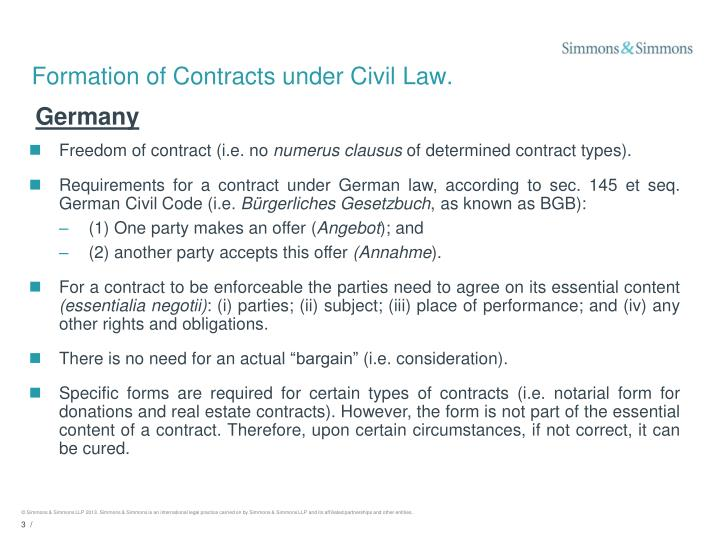 Formation of contracts under civil law