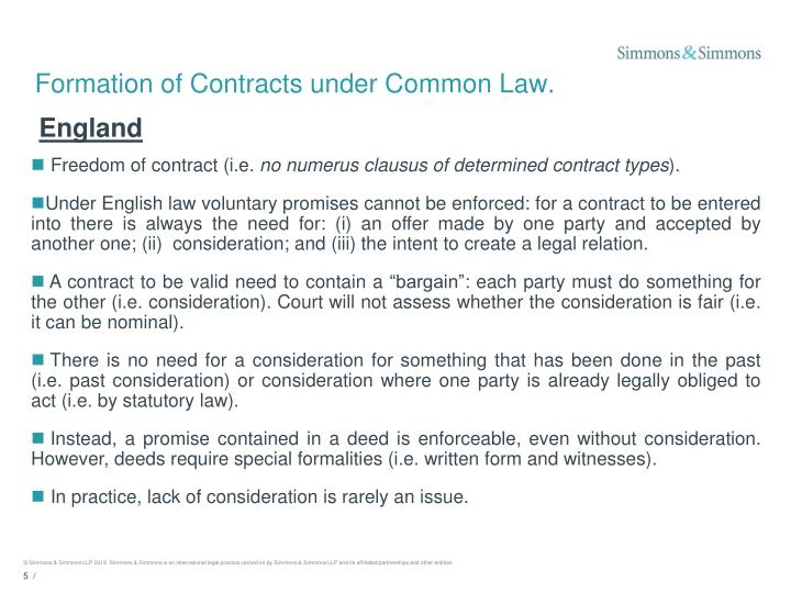 Formation of Contracts under Common Law.