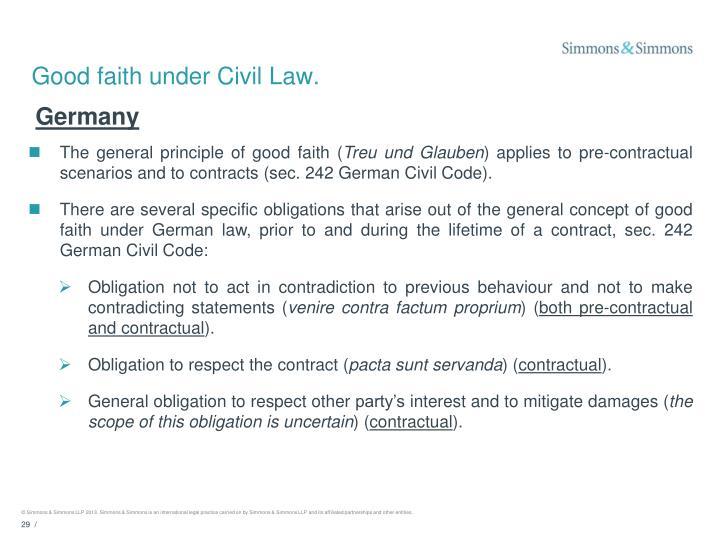 Good faith under Civil Law.