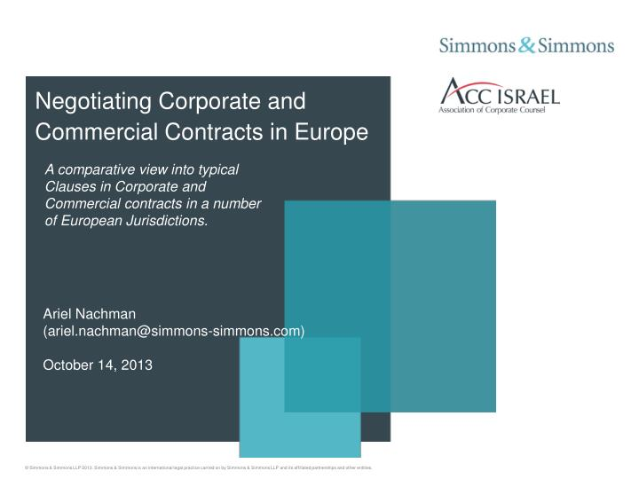 Negotiating corporate and commercial contracts in europe
