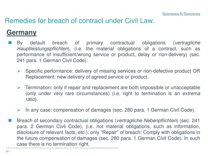 Remedies for breach of contract under Civil Law.