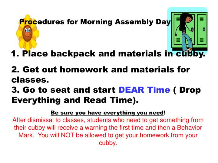 Procedures for Morning Assembly Day
