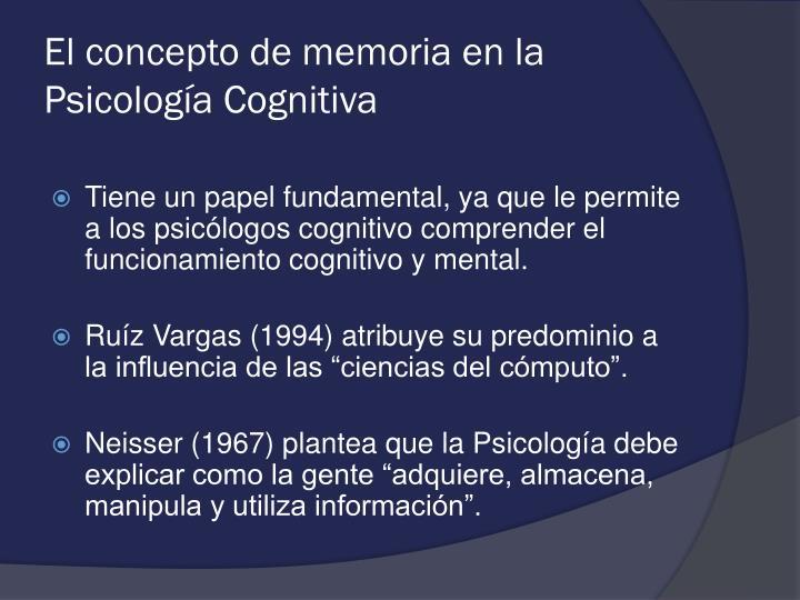 El concepto de memoria en la