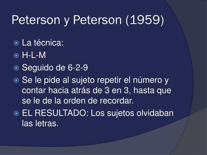 Peterson y Peterson (1959)